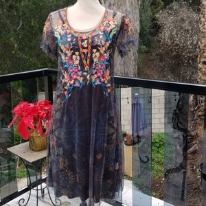 Nwt Johnny Was embroidered Mesh dress S